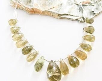 Faceted Quartz Briolettes and Silver Necklace