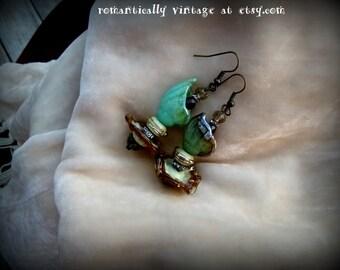 Earrings, Hand Made Lampwork Beads, Victorian, Art, Jewelry, Dangle, One of Kind, Beaded, Whimsical