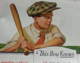 1919 Kellogg's Toasted Corn Flakes Baseball Boy ad