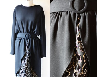 1980s black sheer dress // gold fleck dress // vintage dress