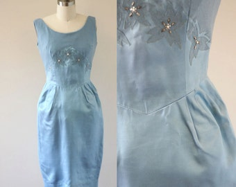 1960s blue wiggle dress // beaded blue dress // vintage dress