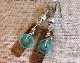 Boho Earrings Layered Blue/Green Recycled Glass Pyrite Etched Brass Sterling Silver Handmade Jewelry  by Lori Pearl