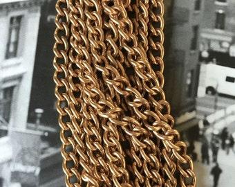 Vintage Brass Curb Chain, Heavy Curb Chain, Brass Curb Chain, 10mm, 2FT