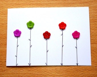 Flower Button Greeting Card