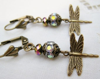 Enchanted Victorian Art Nouveau Vintage Style Etched Antique Brass Dragonfly Dangle Earrings Rhinestone Filigree Bead Lever Back