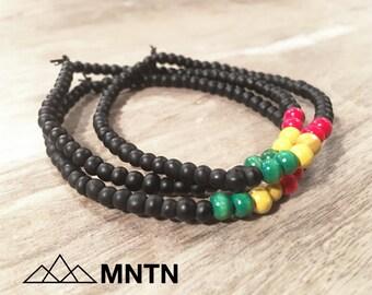 Rasta Men's Beaded Bracelet 3-Pack Matte Black, Red, Green & Yellow Beads