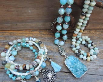 Boho jewelry set Necklace bracelet set Beaded jewelry set Gemstone necklace bracelet set Matching jewelry set Aqua blue necklace bracelet