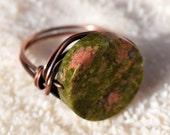 Wire Wrapped Ring, Patina Coppe Ring, Unikite , Wire Ring, Jewelry, Solitaire Ring