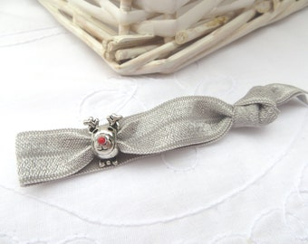 Silver Rudolph embellished elastic hair tie