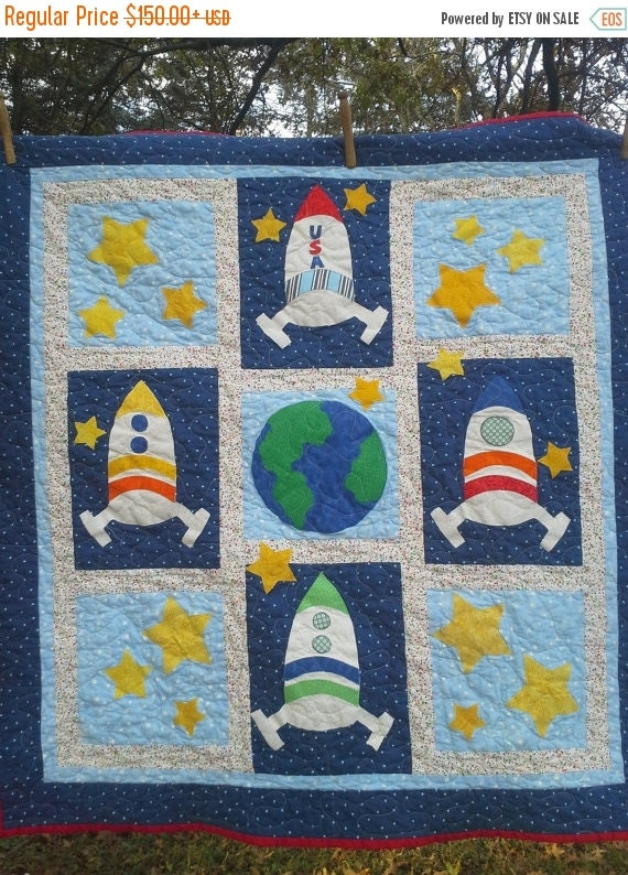 First ever space bedding custom boy bedding crib by for Space shuttle quilt