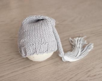 Grey Newborn Hat, Knit Newborn Tassel Hat, Grey Newborn Knot Hat, Striped Stocking Hat, Newborn Hat Photo Props