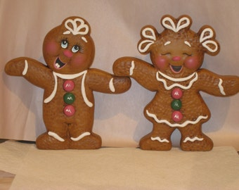 Ceramic,  ginger bread boy and girl, hand painted by Joan Davis, christmas decoration