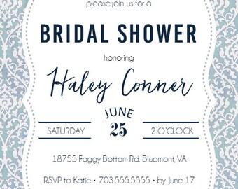 Grey Pink Bridal Shower Invite