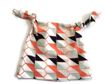 Peach Diamond Baby Tie Knot Beanie Hat - Baby Accessories - Tie Knot Hat