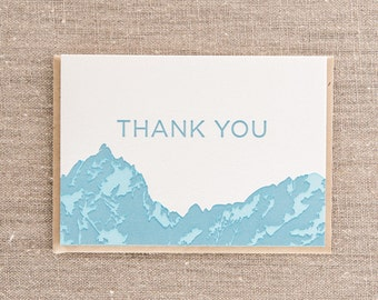 Thank You Mountains Blue Letterpress Greeting Card