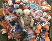 SALE, Halloween wreath,Halloween Mummy wreath,Fall mesh wreath,Halloween decor,Halloween door hanger,Spider wreath, spiders,mummy decor