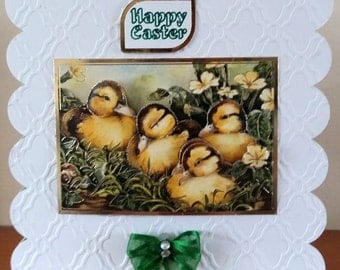 6x6 Scalloped edged Decoupaged 3D Chick Easter Card