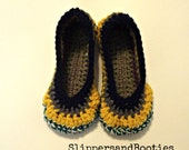 Serendipity Slippers  crochet house shoes stripes shades of gray, green, navy  size 7-8  ONE OF A KIND ready to ship