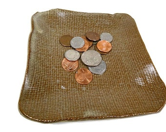 Ceramic Burlap Dish, Burlap Pottery, Trinket Dish, Pocket Change Dish, Rustic Pottery, Candle Dish, Burlap Plate, Brown Pottery, Spoon Rest