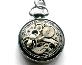 Clockwork Spider Necklace Recycled Steampunk Handmade Gift