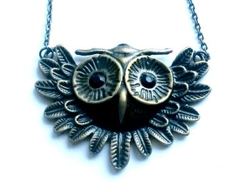 Owl Necklace Steampunk Flying Owl Handmade Gift
