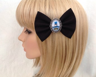 Batman hair bow clip rockabilly psychobilly kawaii pin up geek fabric blue ladies girls comic cosplay robin womens kitsch