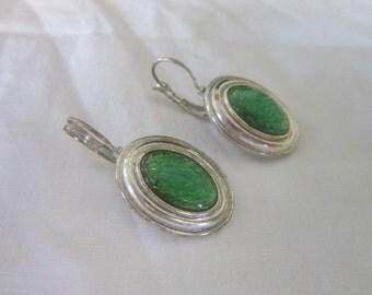 Vintage Silvertone & Green Sparkly Cabochon Pierced Earrings