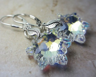 Swarovski Aurora Borealis Clear Crystal Earrings Ice Clear Crystal Edelweiss Brilliant Swarovski Crystal Gift for her Evening Jewelry LOVE