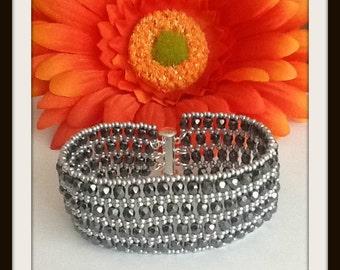 Cuff Bracelet Beaded Cuff Bracelet Black and Silver Bracelet Netted Bracelet Beaded Bracelet