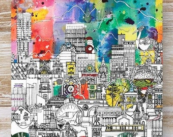 Manchester Skyline Greeting Card