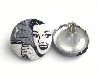 Retro inspired Need my coffee monday fabric button earrings