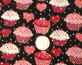 Cupcakes and hearts scrub top, any size