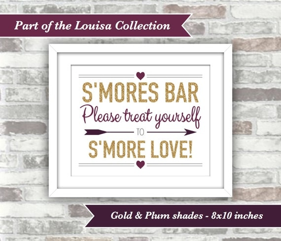 INSTANT DOWNLOAD - Printable Fall Wedding S'mores Bar Sign - Engagement Bridal - 8x10 Digital Files - Gold Glitter Effect Plum Burgundy