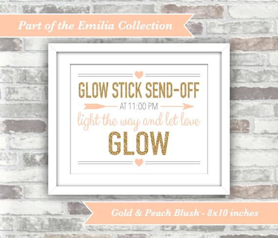 PRINTABLE Digital File - Emilia Collection - Wedding Glow Stick Send-Off Sign - Customised Time - 8x10 - Gold Glitter Effect Peach Blush