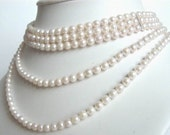 5 Strand Akoya Pearl Necklace, White Cultured Pearls, Vintage Bride Wedding  Bridal Accessory Gatsby Downton Abbey Jewelry