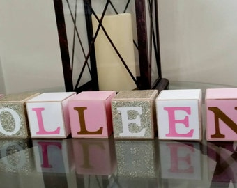 Name Blocks Personalized Childrens 2 x 2 Inch Gold, White and Pink Baby Nursery Wooden for Maternity Decor for Newborn Photo-Picture Prop