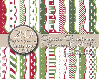 """SALE Digital Frame Set of 20 -""""Classic Christmas""""-JPG/PNG-Includes both!-Downloadable Scallop Digital Frames Christmas Frame Holiday Frame"""