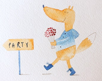 Birthday party animal Fox art Funny birthday card Baby birthday Fox nursery decor Red fox illustration Woodland party card Summer party art