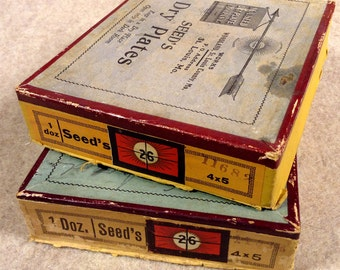 2 Antique - Seed's 4x5 Dry Plates Boxes - Old Glass Negative Boxes - Empty of Plates But all Original Labels and Markings