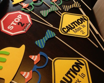 Construction Zone Themed Photo Props - (Set of 12)