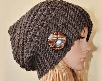 Slouchy beanie hat Special stitch with Button- DEEP TAUPE (or Choose Color) - knit - accessories - slouch - baggy - gift