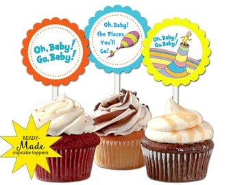 30 ct Oh Baby the places you'll go theme cupcake toppers custom birthday party favors baby shower decoration