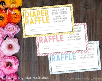 Diaper Raffle Tickets for Baby Shower Invitation // Printable PDF // Customize to your theme