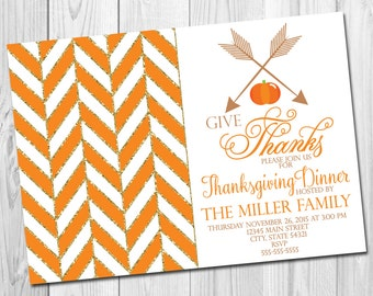 Thanksgiving Dinner Party Invitation - Pumpkins and Arrows - Herringbone - Orange and Tan - DIY - Printable