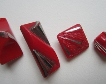 Group of Opaque Red Small Deco Vintage Glass Buttons