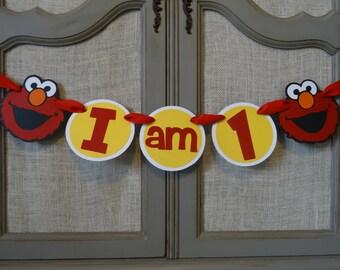 Elmo Highchair Banner First Birthday, Sesame Street Highchair banner
