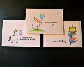 Child's Birthday Card Set (3), Girl-Themed Birthday Card Set (3), Girl's Birthday Greeting Set