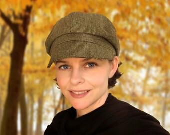 Brooklyn Tweed - wool tweed newsboy cap jaunty autumn earth tone fabric hat custom size