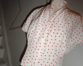 judy bond  red and white polka dot button up blouse 40s 50s