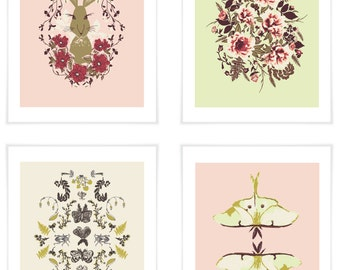 Set of 4 Forest Floor Art Prints in 'Early Bright'